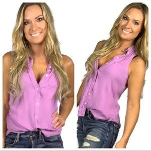 Mossimo Purple Chambray Sleeveless Button Down Top